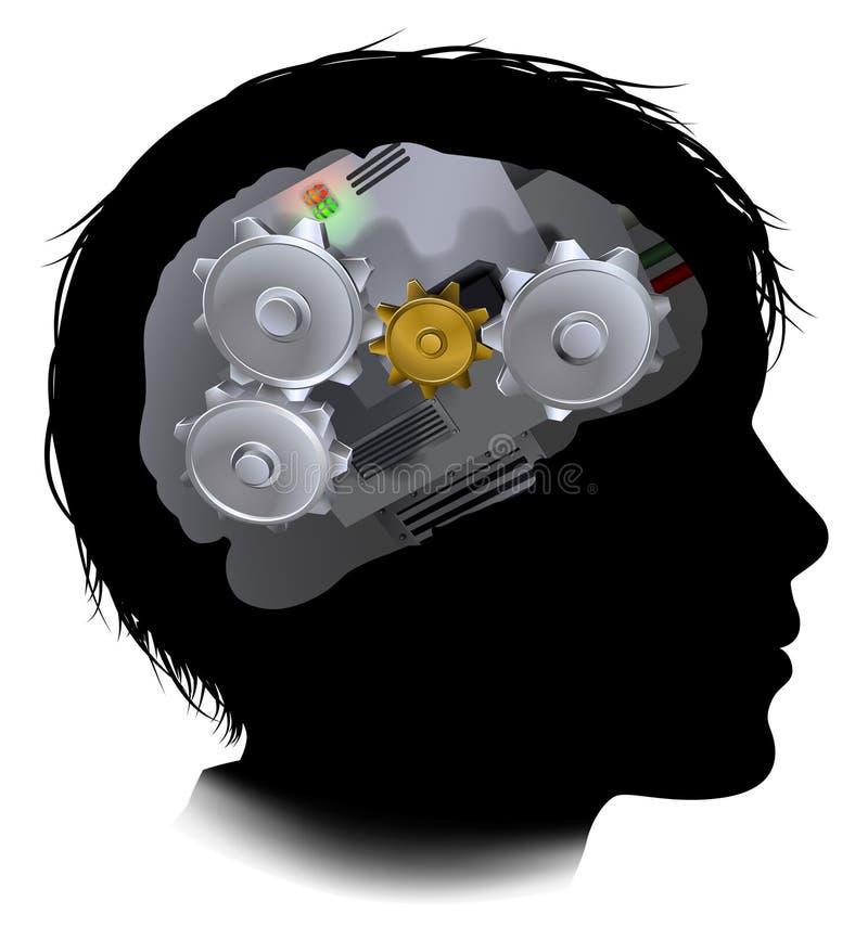 Kuggar Brain Child för maskinarbetekugghjul royaltyfri illustrationer