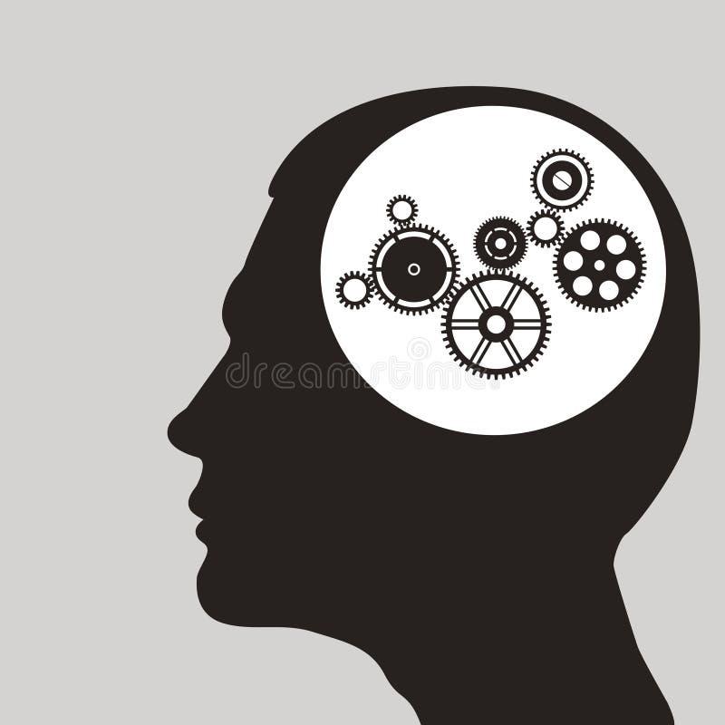 Kuggar eller kugghjul i mänskligt huvud. royaltyfri illustrationer