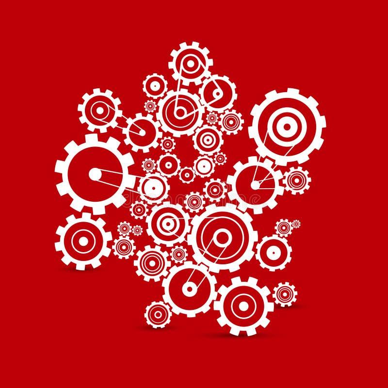 Kuggar - kugghjul på röd bakgrund stock illustrationer