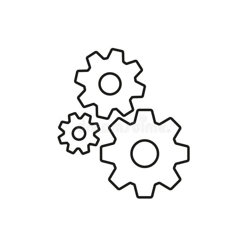 Kuggeöversiktssymbol Kugghjultecken som isoleras på vit bakgrund också vektor för coreldrawillustration royaltyfri illustrationer