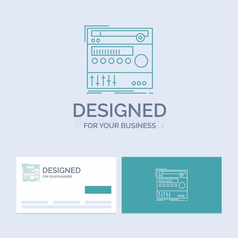 kugge del, enhet, ljud, studioaffär Logo Line Icon Symbol för din affär Turkosaff?rskort med m?rkeslogo vektor illustrationer