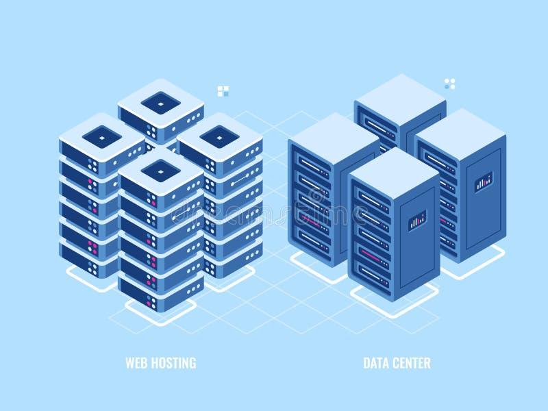 Kugge för varande värd server för rengöringsduk, isometrisk symbol av databas och datorhall, begrepp för digital teknologi för bl vektor illustrationer