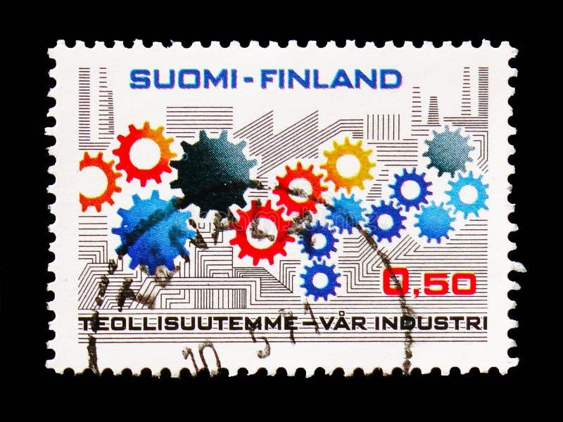 Kuggehjul och stiliserad fabrik, branschserie, circa 1971 arkivbild