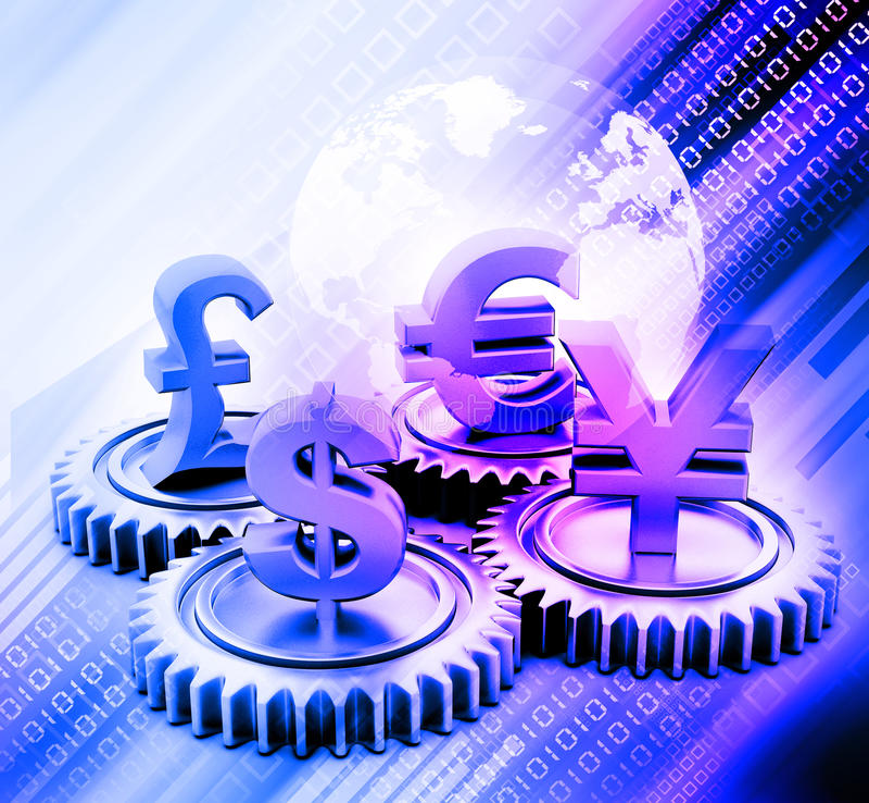 kugghjul 3d med global valuta vektor illustrationer
