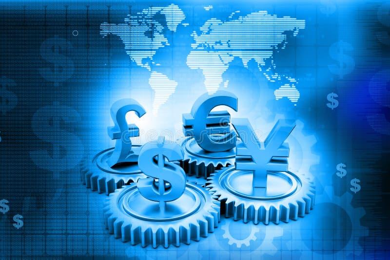 kugghjul 3d med global valuta royaltyfri illustrationer