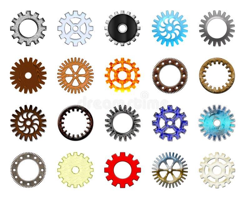 kugghjul för 1 samling stock illustrationer