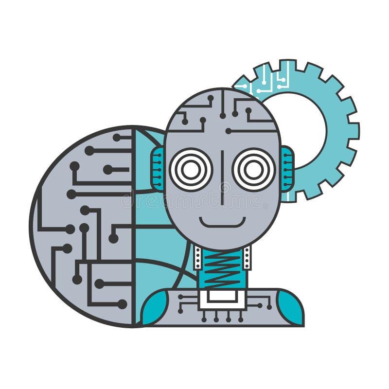 Kugghjul för anslutning för värld för konstgjord intelligens för robot stock illustrationer