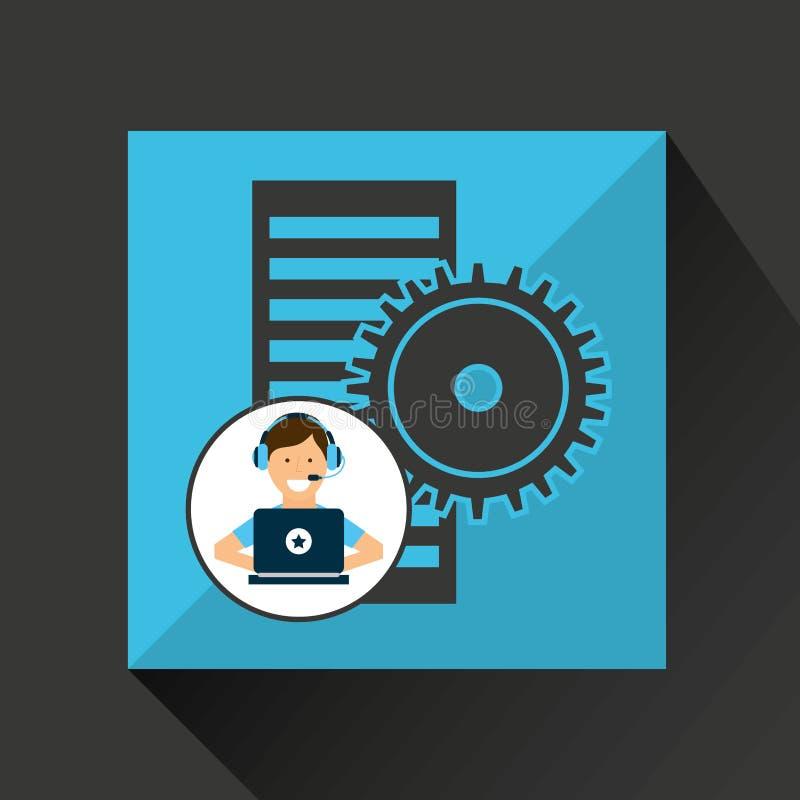 Kugghjul för data för programmerareteckenutveckling royaltyfri illustrationer