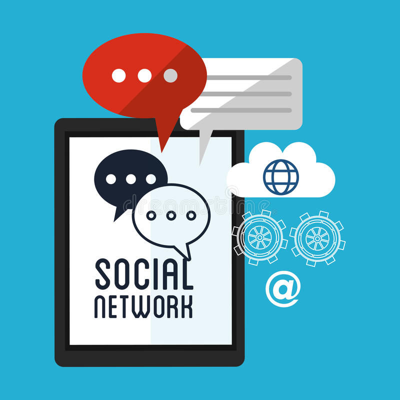 Kugghjul för jordklot för moln för pratstund för Smartphone socialt nätverksmeddelande vektor illustrationer