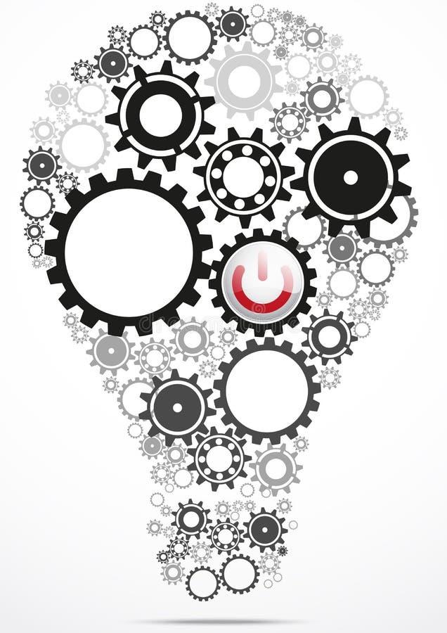 Kugghjul för ljus kula inom med maktknappen vektor illustrationer