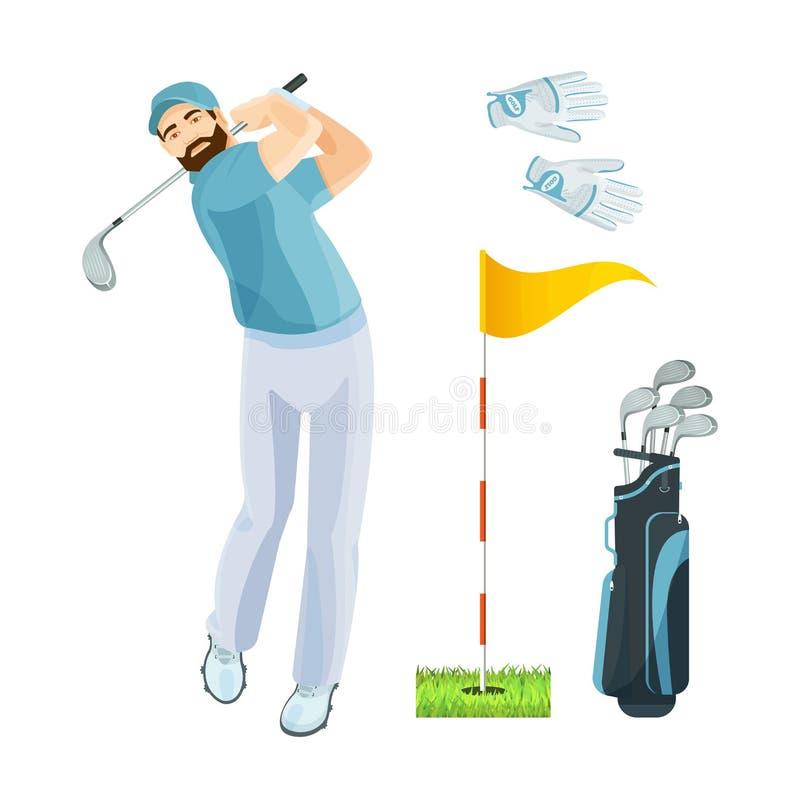 Kugghjul för sportar för symboler för logo för uppsättning för golfutrustning för lek vektor illustrationer