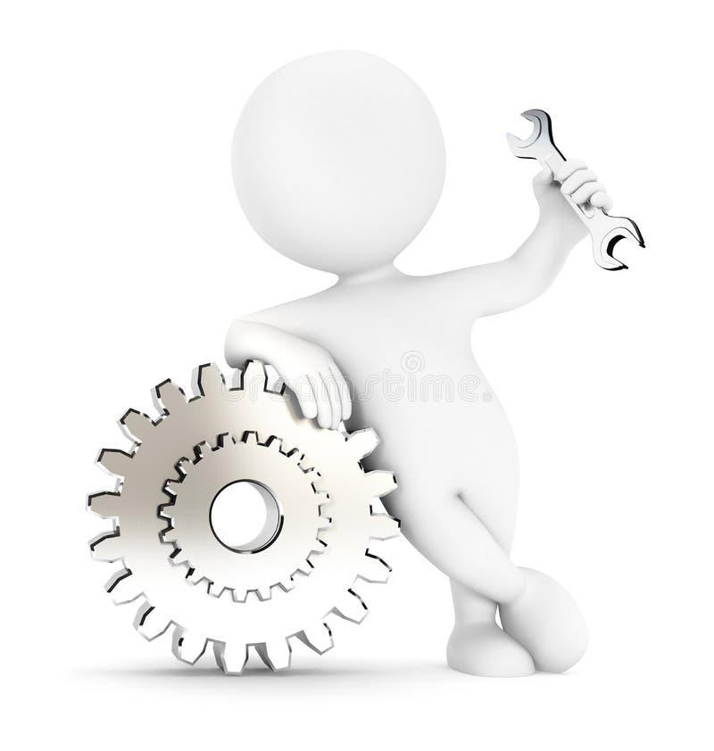 kugghjul för vitt folk 3d royaltyfri illustrationer