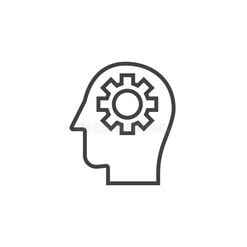 Kugghjul i den head linjen symbol, översiktsvektortecken, linjär pictogram vektor illustrationer