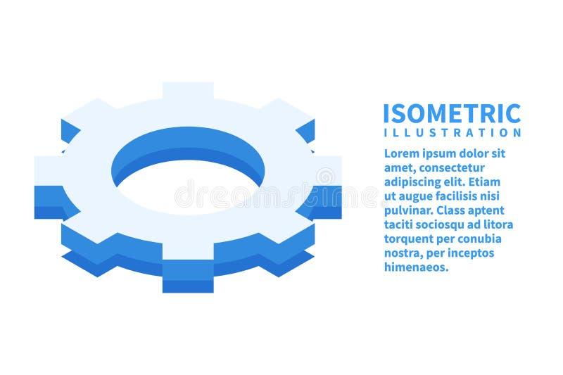 Kugghjul inställningssymbol Isometrisk mall för rengöringsdukdesign i plan stil 3D också vektor för coreldrawillustration stock illustrationer