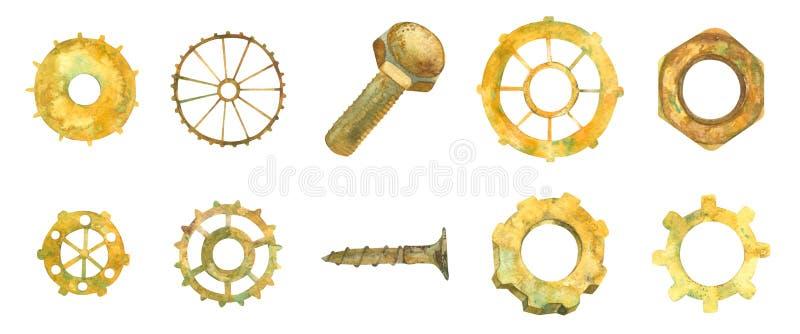 kugghjul Kugghjulhjul Affär Branschmaskinvara Ellow rostiga hjul, muttrar, bult vattenfärgillustratio arkivfoton