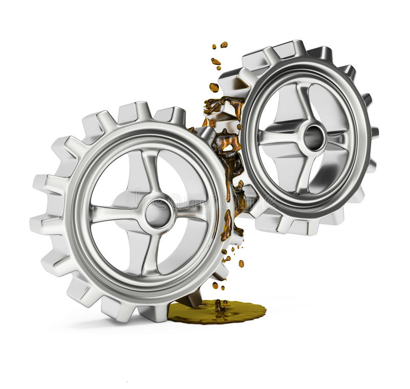 Kugghjul med fett royaltyfri illustrationer