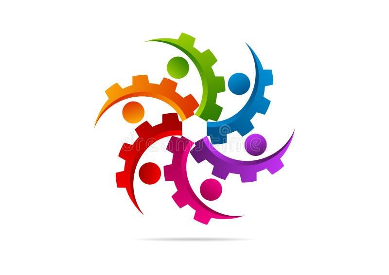 Kugghjul motor, maskin, teamwork, anslutningslogodesign vektor illustrationer