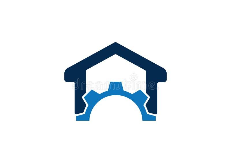 Kugghjul och hem- logobegrepp royaltyfri illustrationer