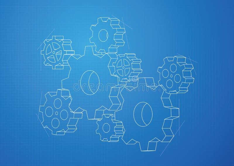 Kugghjul- och kuggebakgrund - vektor royaltyfri illustrationer