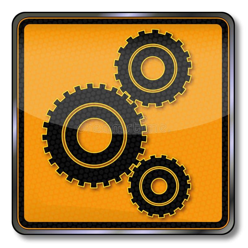 Kugghjul och maskinlära vektor illustrationer
