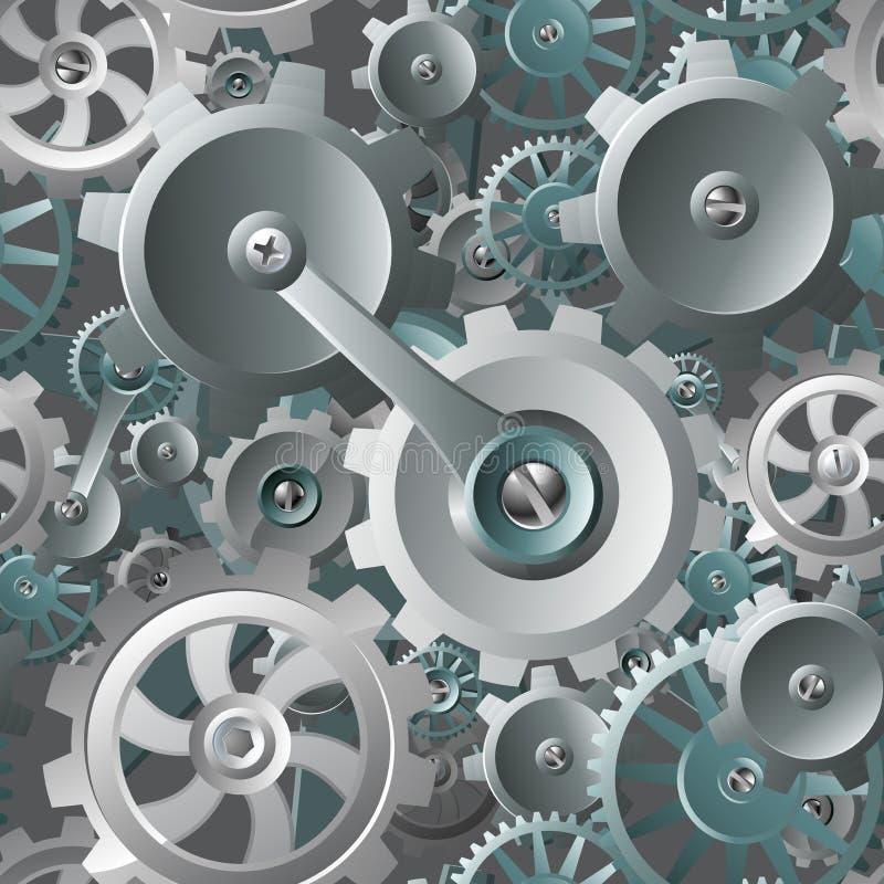 Kugghjul och sömlös maskinbakgrund för kuggar royaltyfri illustrationer