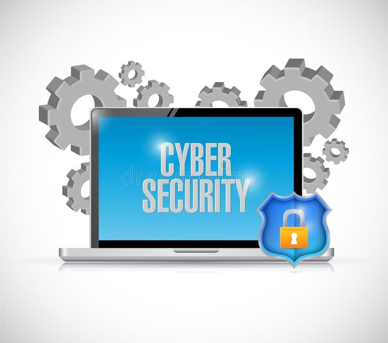 Kugghjul och sköld för Cybersäkerhetsdator vektor illustrationer