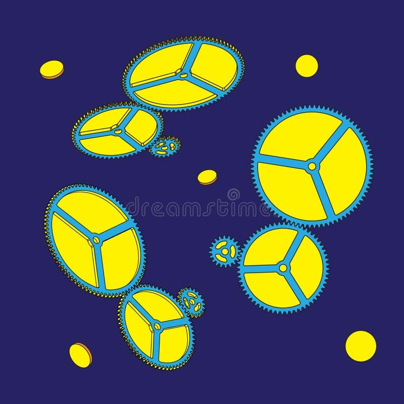 Kugghjul på blå bakgrund också vektor för coreldrawillustration royaltyfri illustrationer