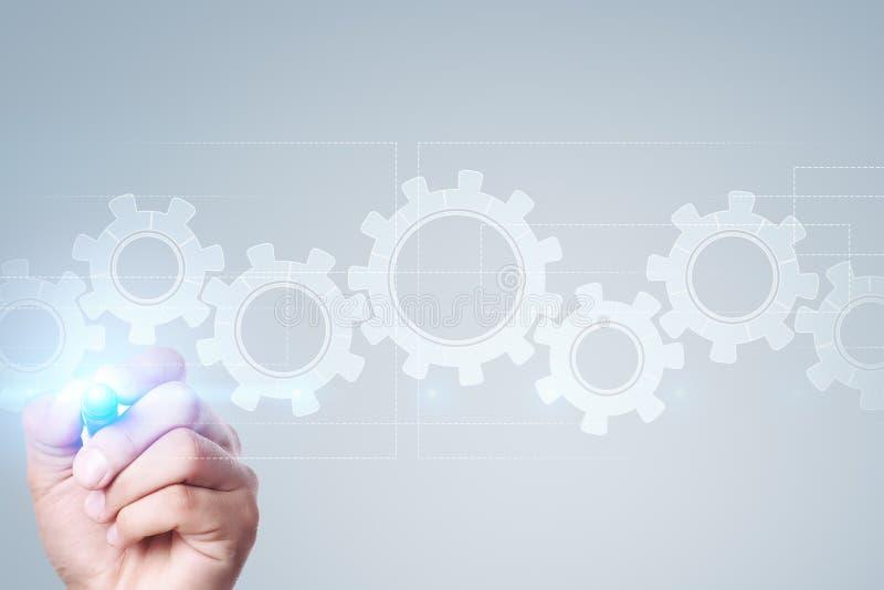 Kugghjul på den faktiska skärmen Affärsstrategi och teknologibegrepp royaltyfri bild