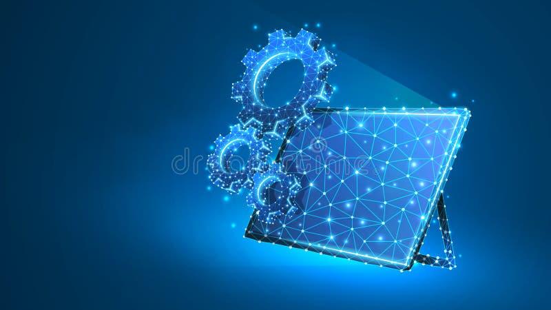Kugghjul på skärmen av den grafiska minnestavlan Bransch affärslösning, teknologi, teknikbegrepp Abstrakt digitalt stock illustrationer
