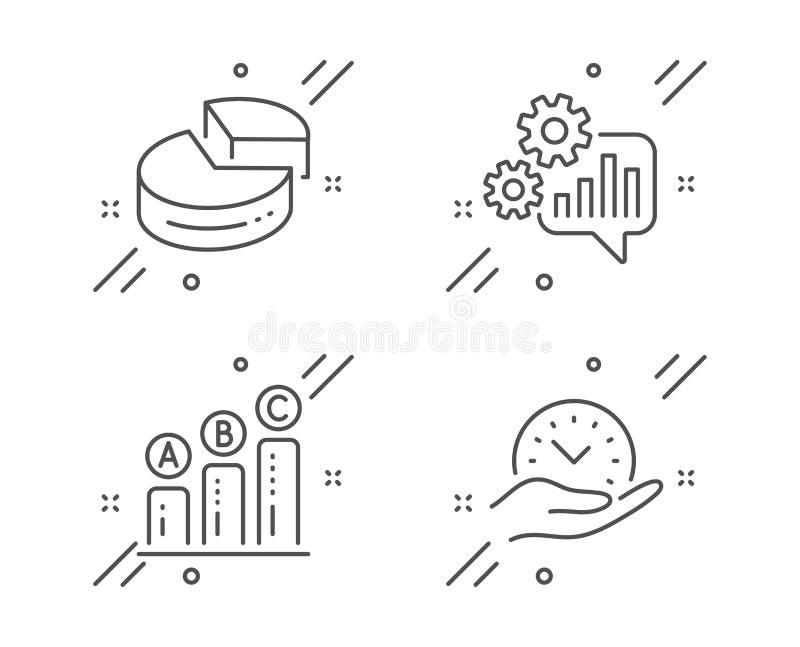 Kugghjul-, pajdiagram och uppsättning för grafdiagramsymboler Tecken för säker tid Teknikhjälpmedel, 3d graf, tillväxtrapport vek vektor illustrationer