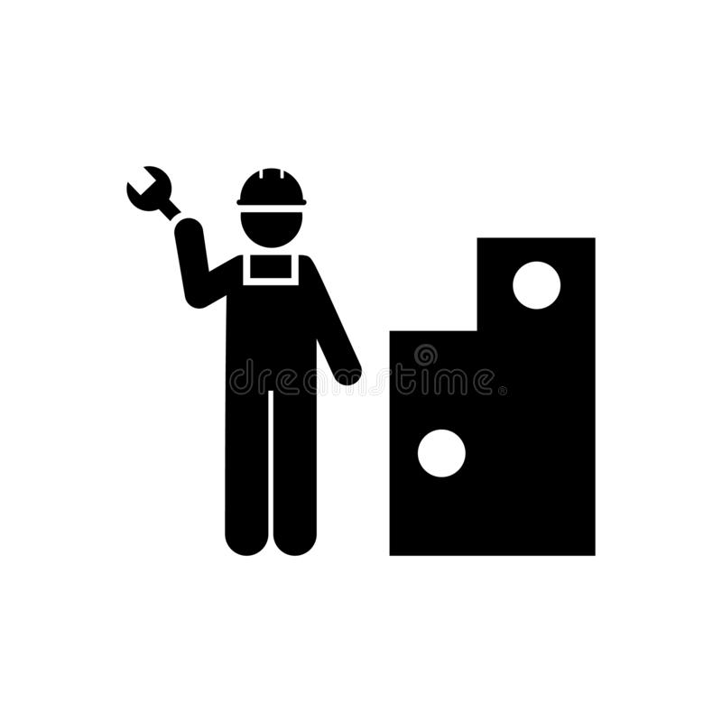 Kugghjul teknik, underhåll, jobb, arbetarsymbol Best?ndsdel av den tillverkande symbolen H?gv?rdig kvalitets- symbol f?r grafisk  royaltyfri illustrationer