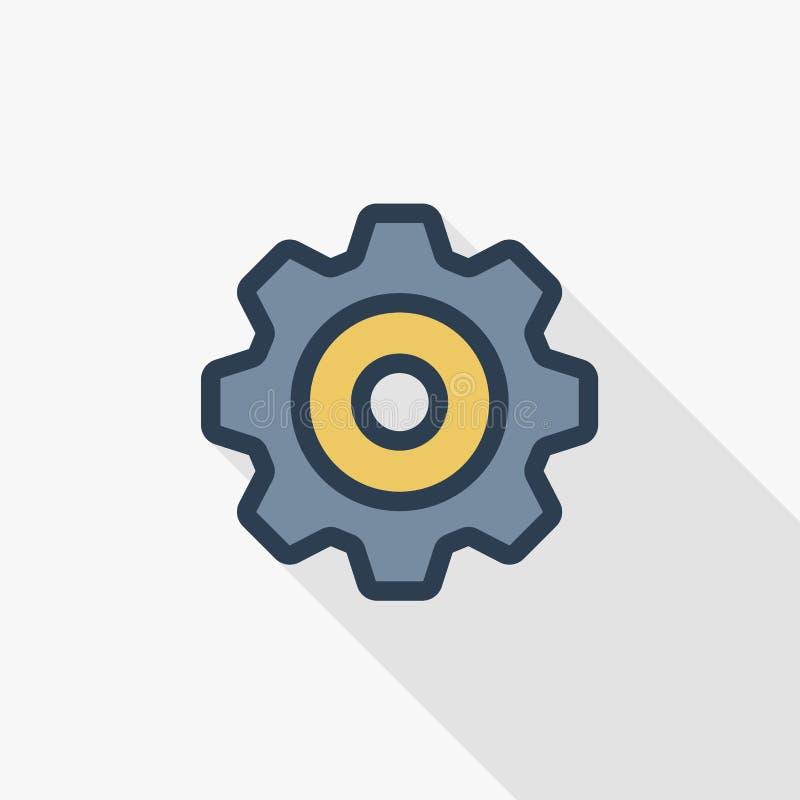 Kugghjul tunn linje lägenhetfärgsymbol för mekanism Linjärt vektorsymbol Färgrik lång skuggadesign vektor illustrationer