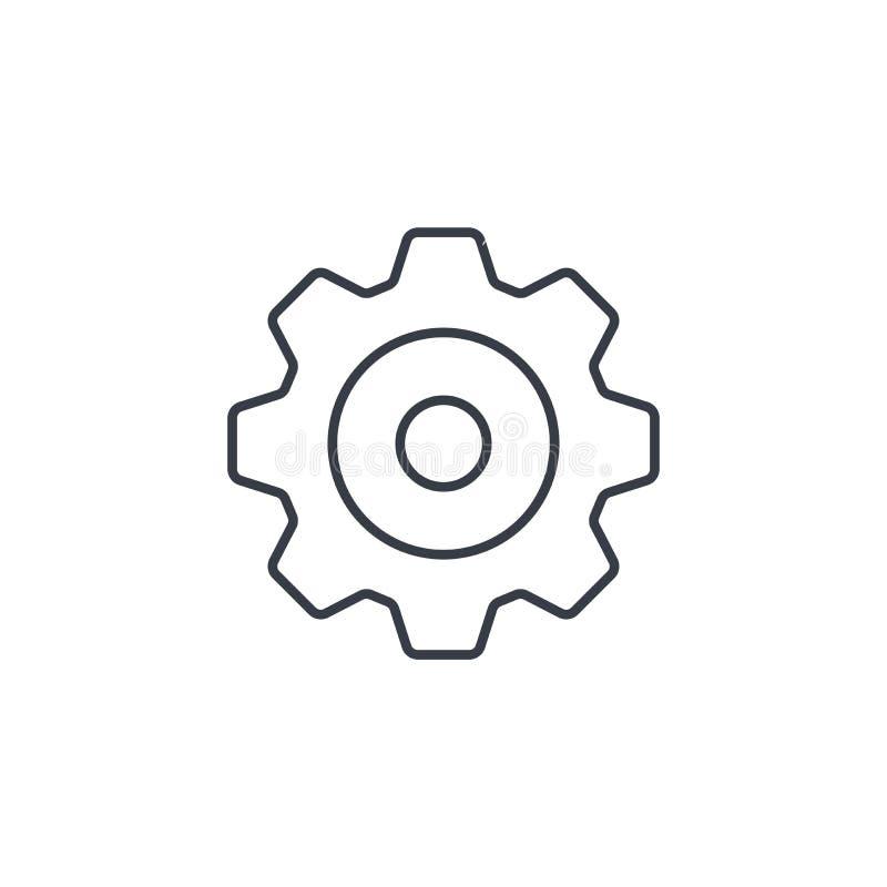 Kugghjul tunn linje symbol för mekanism Linjärt vektorsymbol royaltyfri illustrationer
