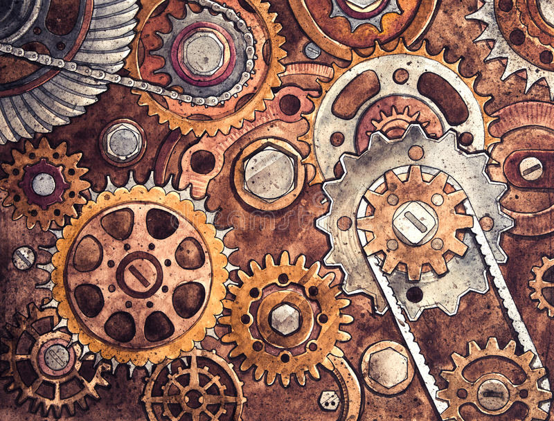 Kugghjul Under konstruktionsritning stock illustrationer