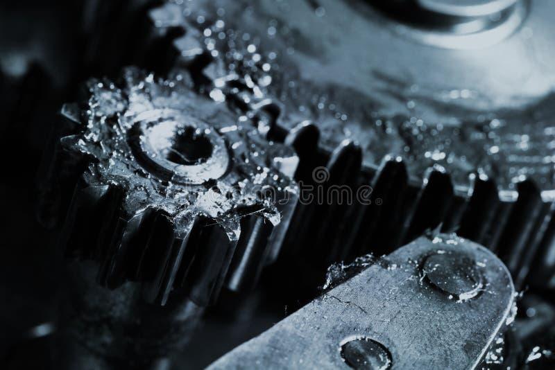 Kugghjularbete i en industriell maskin fotografering för bildbyråer