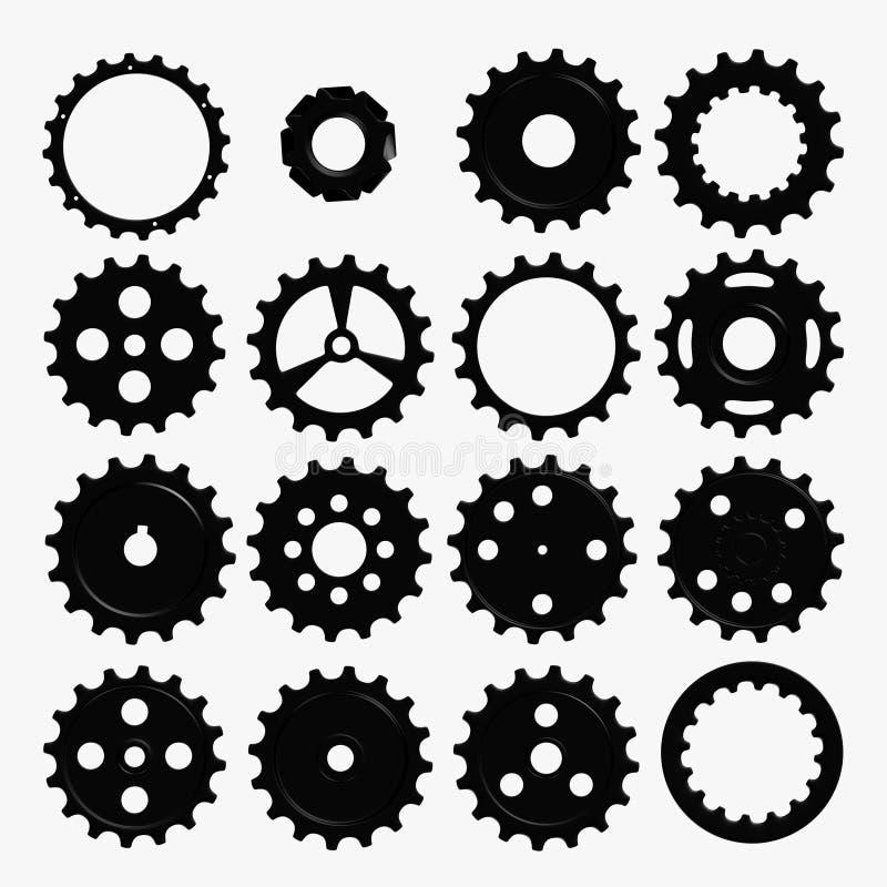kugghjulet 3d framför hjul royaltyfri illustrationer