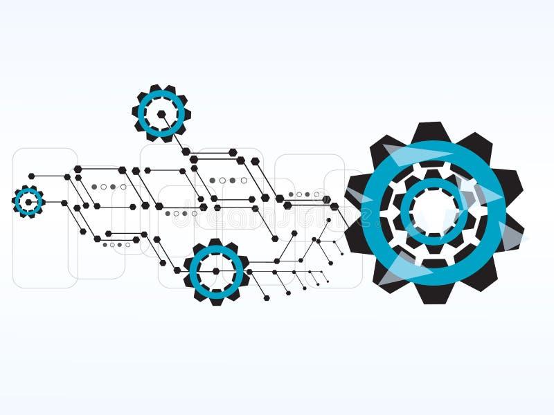 Kugghjulet för vektordesignteknologi förser med kuggar bakgrund royaltyfri illustrationer