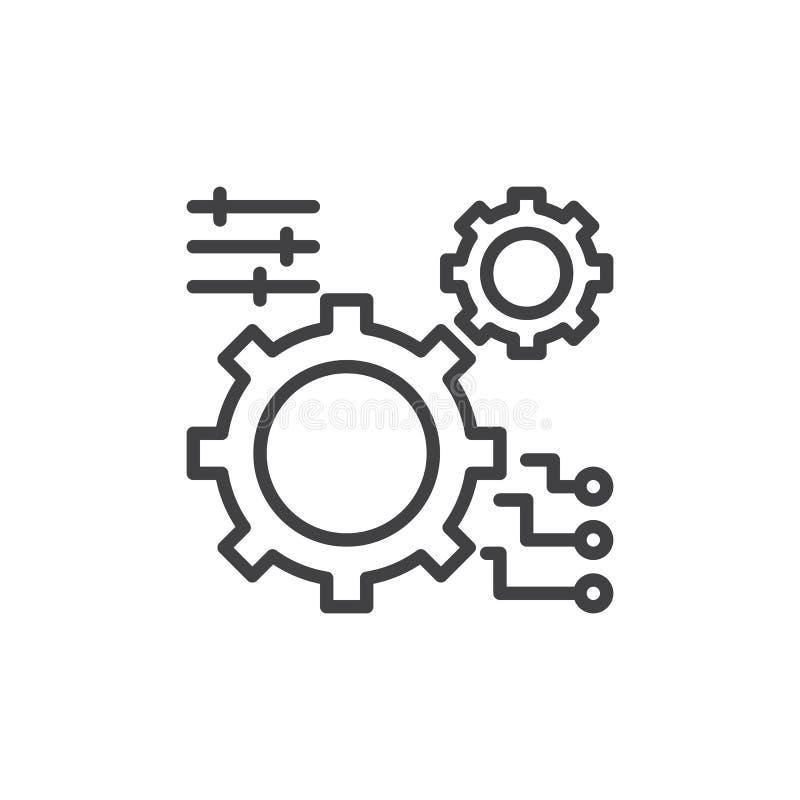 Kugghjulet inställningar fodrar symbolen, översiktsvektortecknet, den linjära stilpictogramen som isoleras på vit vektor illustrationer