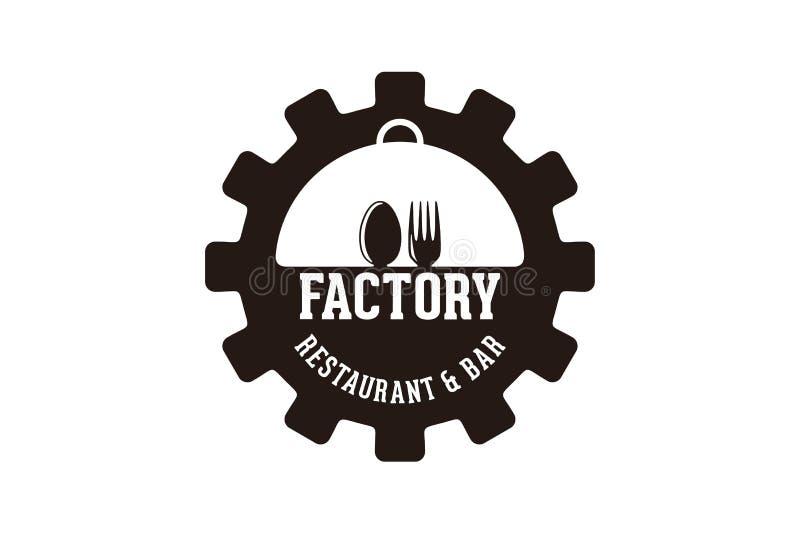 kugghjulet, skeden och gaffeln, fabriksrestauranglogo planlägger inspiration som isoleras på vit bakgrund royaltyfri illustrationer