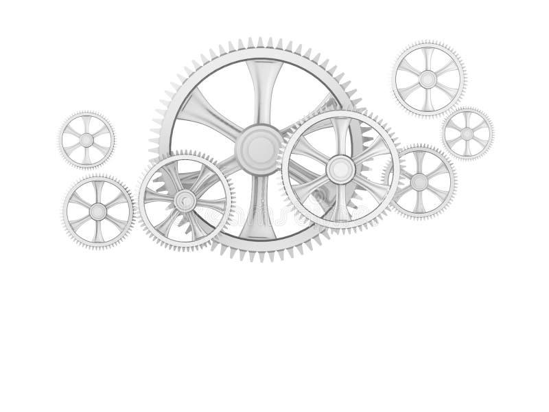 Kugghjulet teknologibegreppsdator frambragte royaltyfri illustrationer