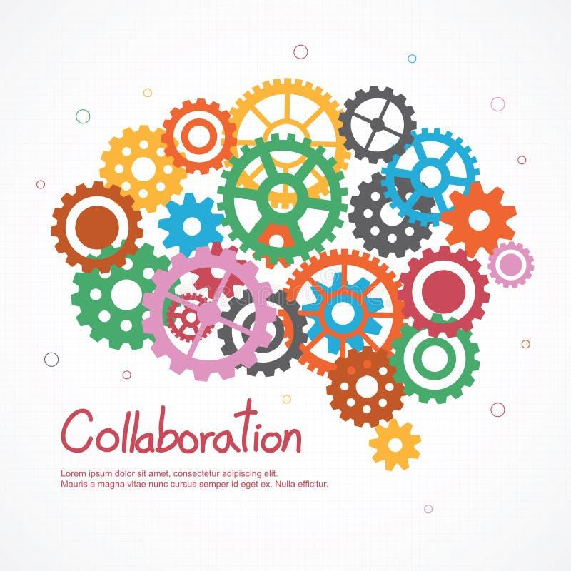 Kugghjulhjärna för samarbete eller teamwork stock illustrationer