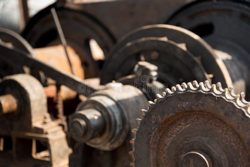 Kugghjulhjul av tungt maskineri arkivbild