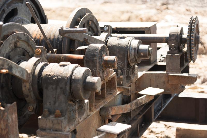 Kugghjulhjul av tungt maskineri arkivfoto