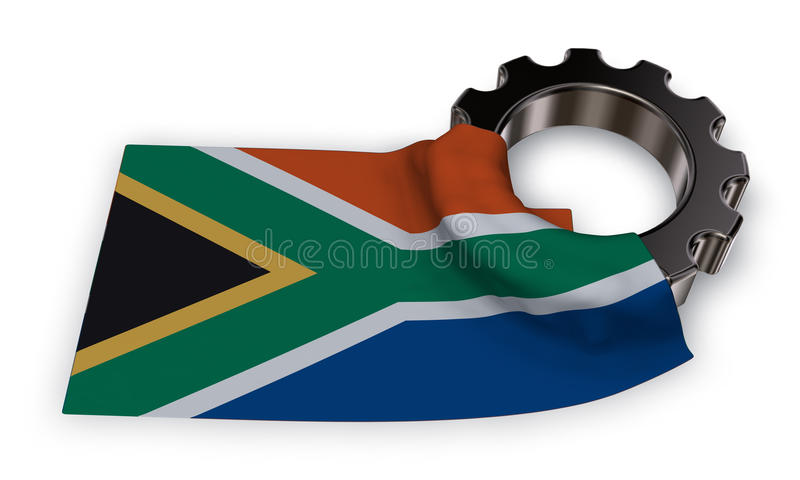Kugghjulhjul och flagga av Sydafrika royaltyfri illustrationer