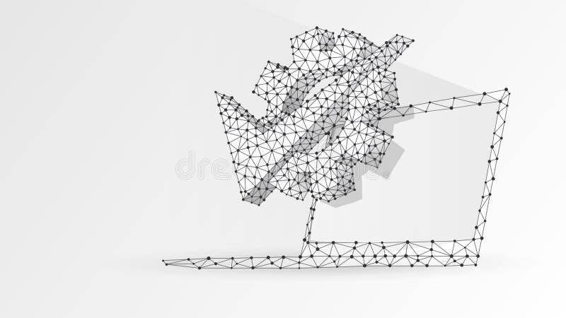 Kugghjulkontrollfläck på bärbar datorskärmen Affärslösning, godkänd teknologi, primat begrepp för maskin Abstrakt digitalt vektor illustrationer