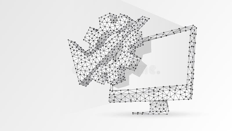 Kugghjulkontrollfläck på datorbildskärm Affärslösning, godkänd teknologi, primat begrepp för maskin Abstrakt digitalt vektor illustrationer