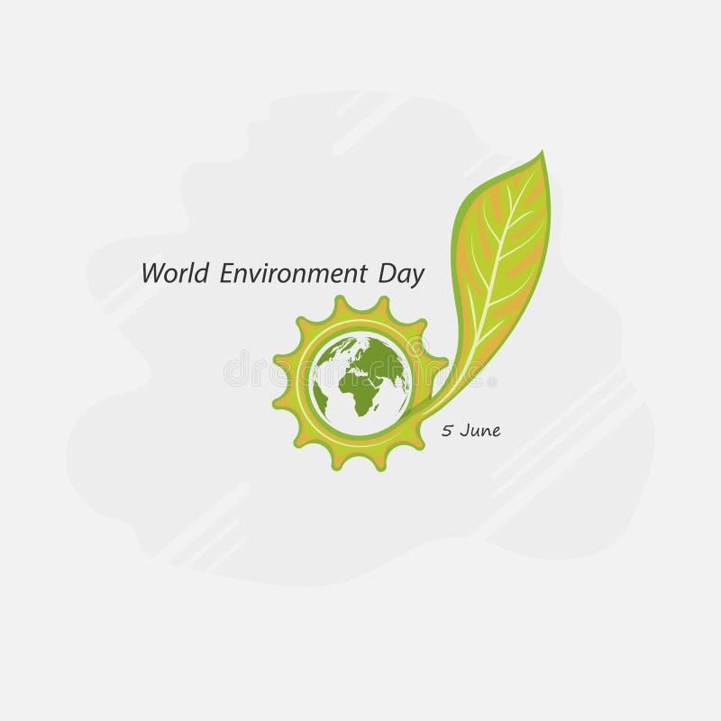 Kugghjulkugge och gräsplanbegrepp Jordklot- och bladtecken Värld Environmen vektor illustrationer
