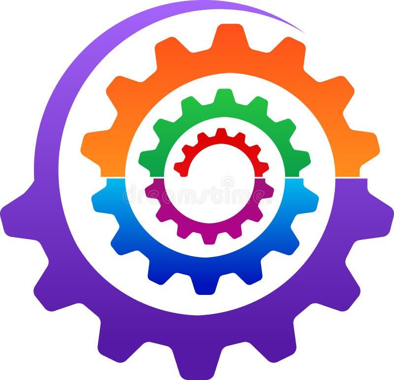 Kugghjullogo vektor illustrationer