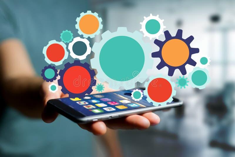 Kugghjulmanöverenhetsinställning som ut går en smartphone - teknologi c royaltyfria bilder