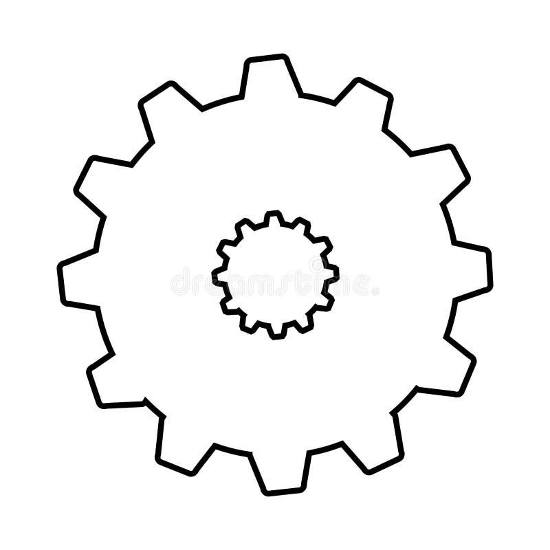 kugghjulmaskinstil isolerade symbolsdesign royaltyfria bilder